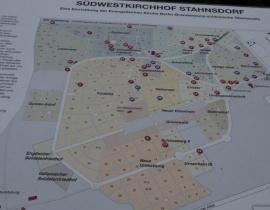 Plan cmentarza w Stahnsdorf z oznaczeniem grobu Hugo Conwentza